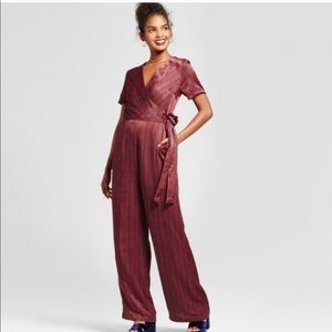red and navy jumpsuit